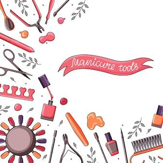 Kwadratowe tło z narzędziami do manicure. baner z różnymi narzędziami do zdobienia paznokci - nożyczkami, maszynką do strzyżenia, lakierem do paznokci, pędzelkiem, szczypcami do skórek. ilustracja wektorowa kolorowe.