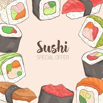 Kwadratowe tło z ramą składało się z różnych rodzajów japońskiego sushi i ręcznie rysowanych rolek. oferta specjalna.