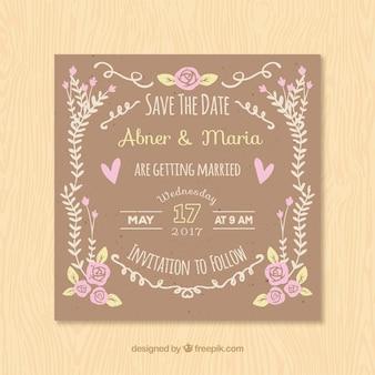 Kwadratowe zaproszenie na wesele z kwiatowymi elementami vintage