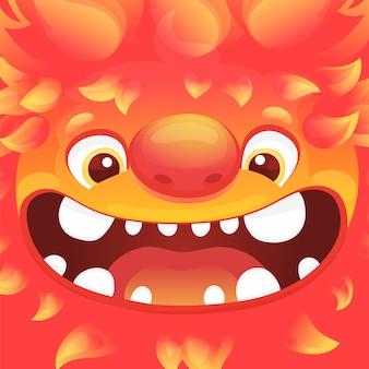 Kwadratowy awatar z zabawną postacią kosmity ze skórą płomienia