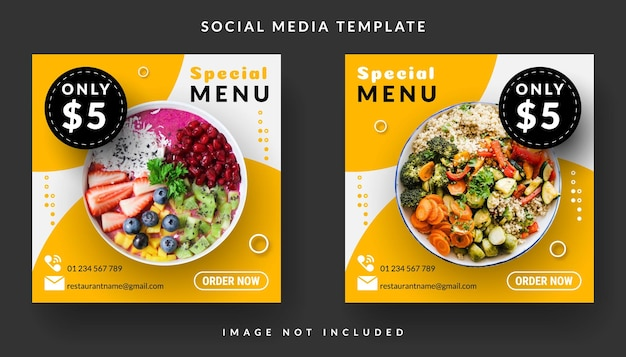 Kwadratowy baner menu dla szablonu postu w mediach społecznościowych