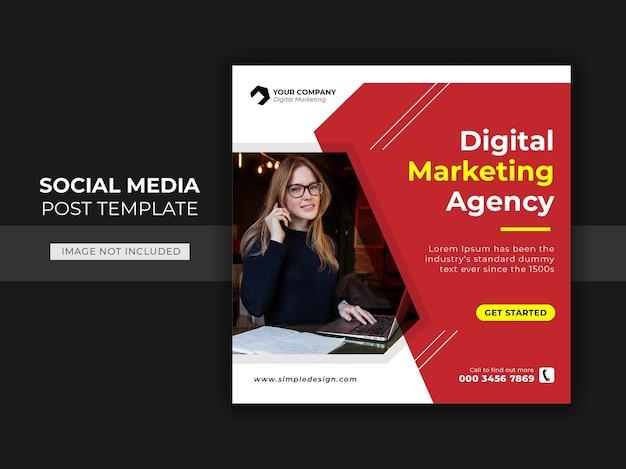 Kwadratowy baner na agencję biznesową o tematyce szablonu postów w mediach społecznościowych
