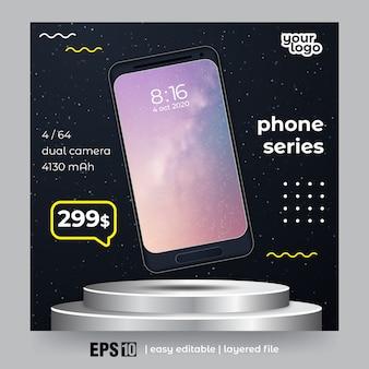 Kwadratowy baner na promocję smartfona