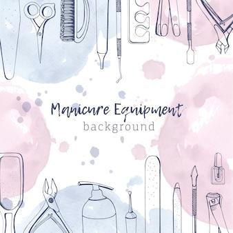 Kwadratowy baner z różnymi narzędziami do manicure narysowanymi liniami konturowymi i pastelowymi plamami farby akwarelowej tło z wyposażeniem do zdobienia paznokci na górnej i dolnej krawędzi. ilustracja.