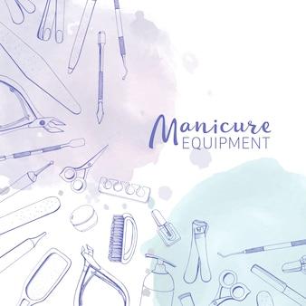 Kwadratowy baner z różnymi narzędziami do manicure narysowanymi liniami konturu i plamami farby akwarelowej w pastelowych kolorach