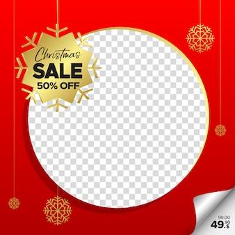Kwadratowy czerwony xmas sprzedaż transparent dla sieci web, instagram i mediów społecznościowych z pustą ramkę