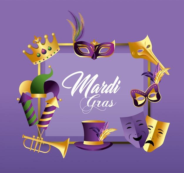 Kwadratowy emblemat z maskami i kapeluszem do merdi gras