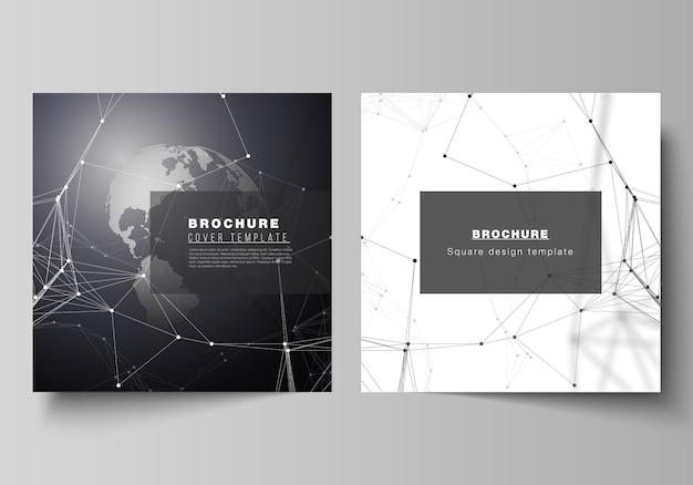 Kwadratowy format obejmuje szablony do projektowania broszur, ulotek.