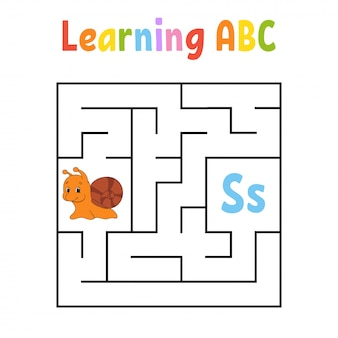 Kwadratowy labirynt. gra dla dzieci. labirynt kwadratowy. arkusz edukacyjny. ślimak mięczak