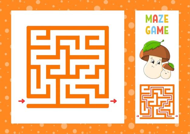 Kwadratowy labirynt gra dla dzieci puzzle dla dzieci szczęśliwa postać labirynt zagadka