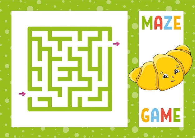 Kwadratowy labirynt gra dla dzieci puzzle dla dzieci szczęśliwa postać zagadka labirynt