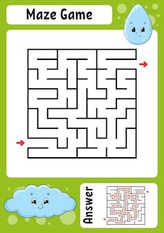 Kwadratowy labirynt gra dla dzieci zabawny labirynt