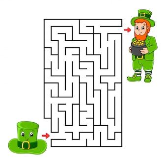 Kwadratowy labirynt. krasnoludek i kapelusz. gra dla dzieci. puzzle dla dzieci.
