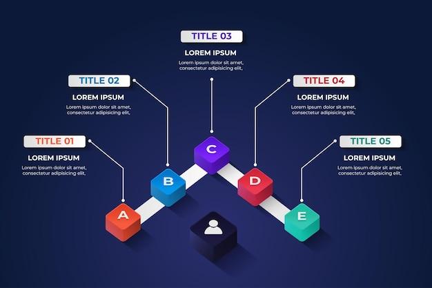 Kwadratowy model elementu infografiki 3d z 5 opcjami kolorów do prezentacji danych technologicznych