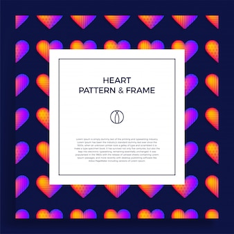 Kwadratowy plakat, baner lub karta z szablonem tytułu i tekstu, ozdobiona kolorową ramką serca