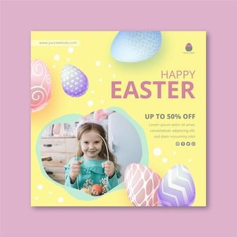 Kwadratowy plakat szablon na wielkanoc z małą dziewczynką i jajkami