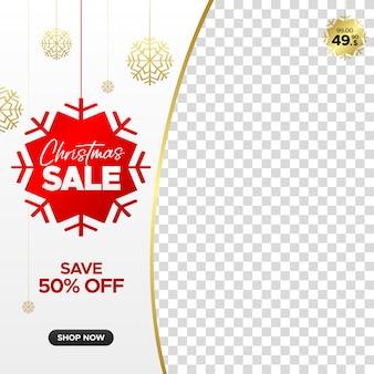 Kwadratowy świąteczny sztandar sprzedaż dla sieci web, instagram i mediów społecznościowych z pustą ramkę
