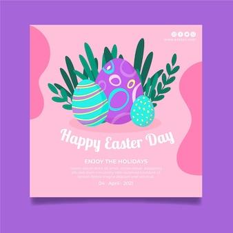 Kwadratowy szablon plakatu na wielkanoc z jajkami i liśćmi