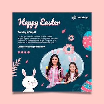 Kwadratowy szablon plakatu na wielkanoc z króliczkiem i rodziną