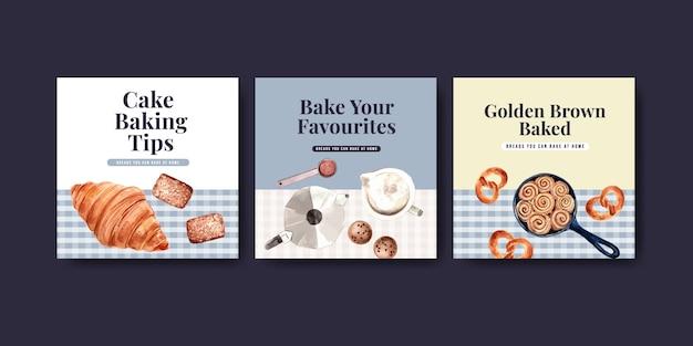 Kwadratowy szablon postu na instagramie z projektem piekarni i ilustracją akwareli