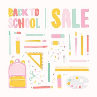 Kwadratowy szablon transparentu na sprzedaż z okazji powrotu do szkoły z napisem z kolorową kaligraficzną czcionką i ozdobiony materiałami papierniczymi dla edukacji.