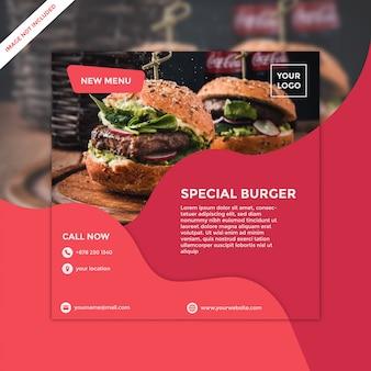 Kwadratowy szablon ulotki dla burgera restauracji