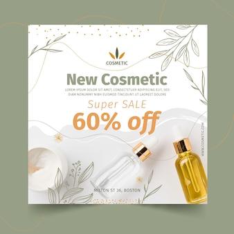 Kwadratowy szablon ulotki dla produktów kosmetycznych