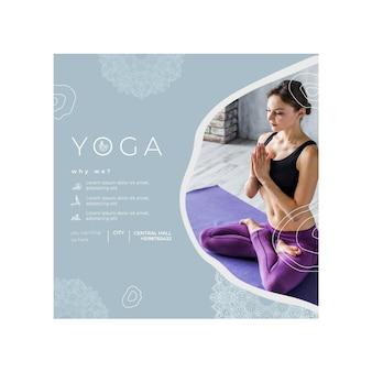 Kwadratowy szablon ulotki do ćwiczeń jogi