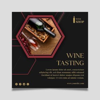Kwadratowy szablon ulotki do degustacji wina z butelką i kieliszkiem