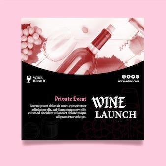 Kwadratowy szablon ulotki do degustacji wina
