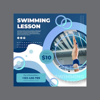 Kwadratowy szablon ulotki do nauki pływania