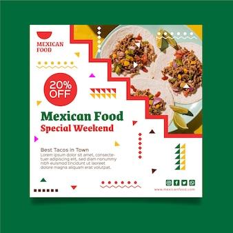 Kwadratowy szablon ulotki meksykańskiej żywności