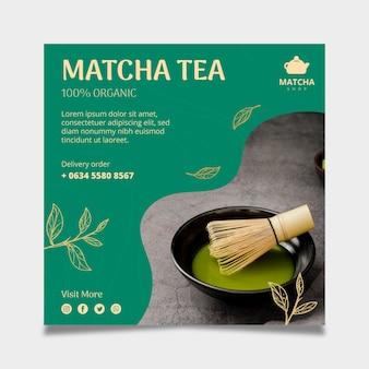 Kwadratowy szablon ulotki na herbatę matcha