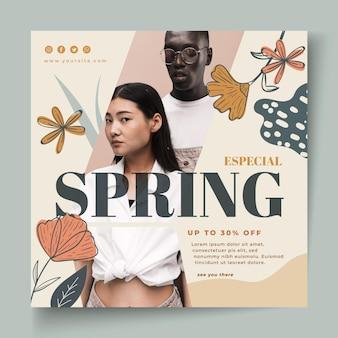 Kwadratowy szablon ulotki na wiosenną wyprzedaż mody