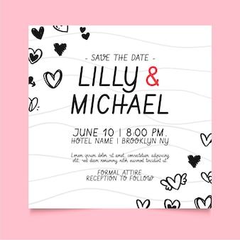 Kwadratowy szablon ulotki ślub z doodled serca