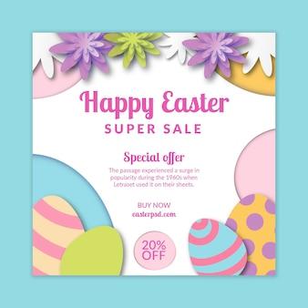 Kwadratowy szablon ulotki sprzedaży na wielkanoc z jajkami i kwiatami