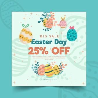 Kwadratowy szablon ulotki sprzedaży na wielkanoc z jajkami