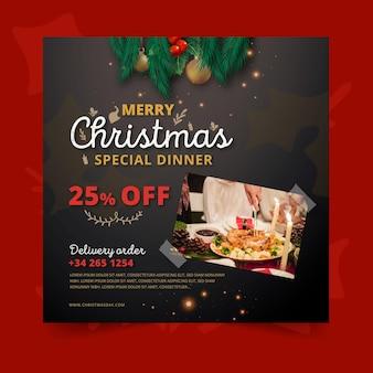 Kwadratowy szablon ulotki świątecznej z ofertą specjalną