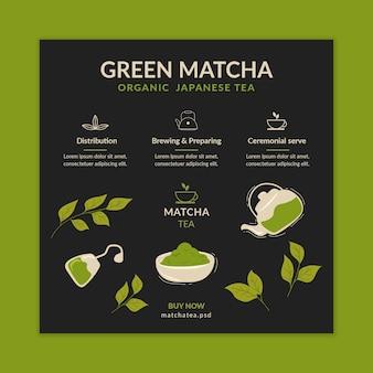 Kwadratowy Szablon Ulotki Z Herbatą Matcha Darmowych Wektorów