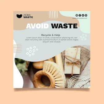 Kwadratowy szablon ulotki zero waste