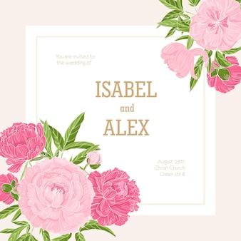 Kwadratowy szablon zaproszenia ślubne ozdobiony kwitnącymi różowymi kwiatami piwonii.