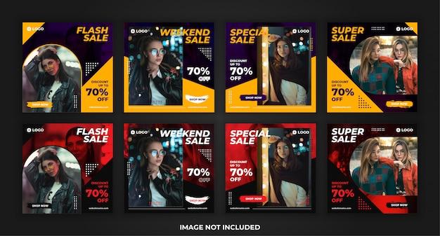 Kwadratowy sztandar sprzedaż mody dla pakietu szablonów po promocji w mediach społecznościowych