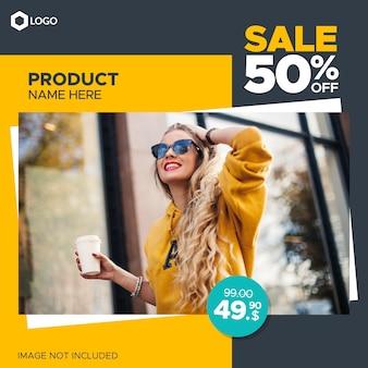 Kwadratowy sztandar sprzedaży mody dla postów internetowych i społecznościowych