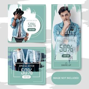 Kwadratowy sztandar sprzedaży mody i fabuła na post na instagramie