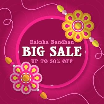 Kwadratowy sztandar sprzedaży raksha bandhan