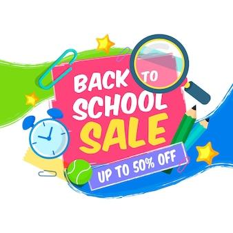 Kwadratowy sztandar sprzedaży z powrotem do szkoły