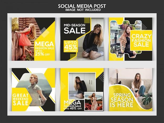 Kwadratowy transparent sprzedaży mody lub zestaw szablonów postów instagram