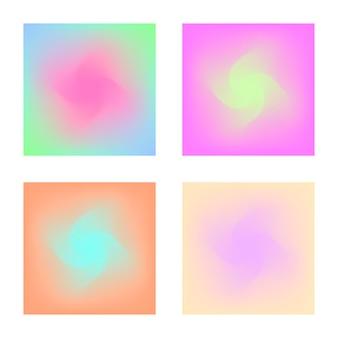Kwadratowy zestaw gradientowy z nowoczesnymi abstrakcyjnymi tłami. kolorowa, płynna okładka na plakat, baner, ulotkę i prezentację. modny delikatny kolor. szablon z kwadratowym gradientem ustawionym na ekrany i aplikację mobilną