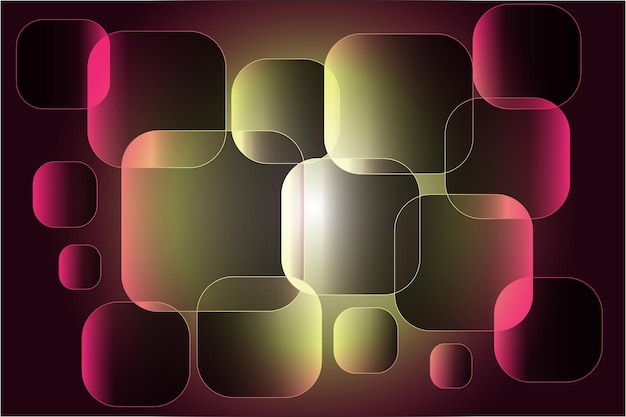 Kwadraty z wypalonymi rogami czerwono-zielonego koloru na abstrakcyjnym tle.