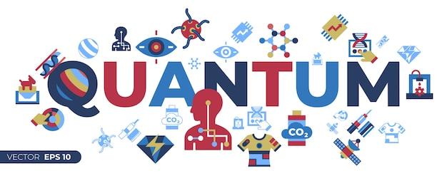 Kwantowe ikony zestawów technologii przyszłości